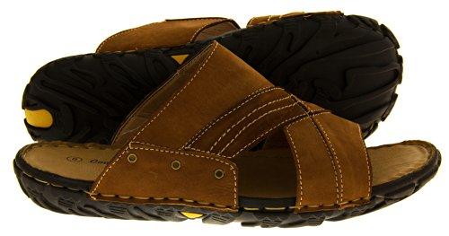 Footwear Studio , Sandales pour homme Marron - Tan (3 Eyelet Detail)