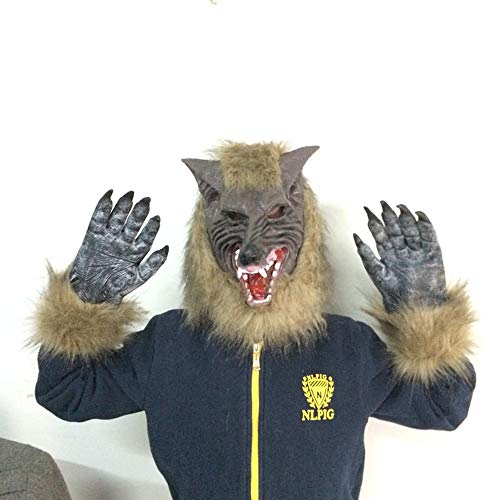 LITTHING Wolf Latex Maske und Wolf Claws Halloween Kostüm Vollmaske Karneval Werwolfmaske Halloween