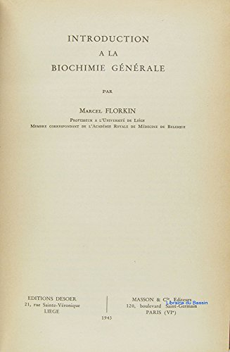 Introduction à la biochimie générale