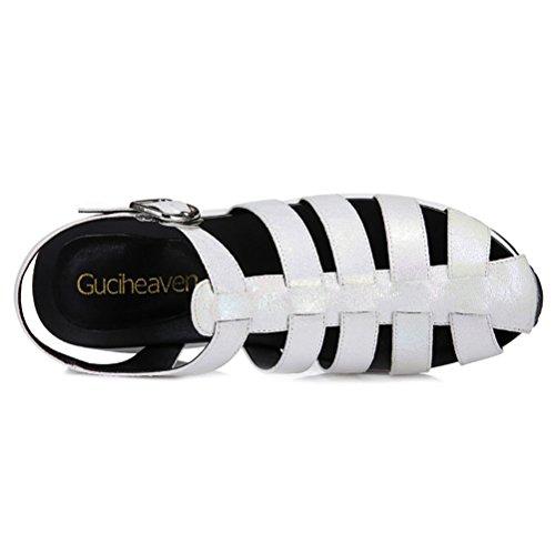 Modische Bequeme Sommer Damen Kühle Sandalen Dicke Sohle Keilabsatz Einfache Slip-on Metallfarbe Multi-farbe Römische Stil Metallschnalle Weiß