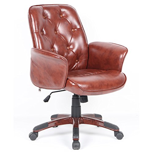Sedia da ufficio braccioli lounge regolabile rolling brown vintage pu cuoio plastica