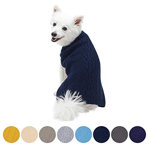 Blueberry Pet Meisterhaftes Klassisches Zopfmuster Kleid Blau Hundepulli, Rückenlänge 30cm, Einzelpackung Hundebekleidung