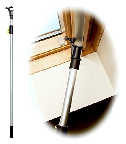 WinHux® Teleskop-Bedienungsstange, Teleskopstange, Fensterstange zum Öffnen und Schließen von VELUX® Dachfenster UND Jalousien 1,2 - 2,0 m SILBER