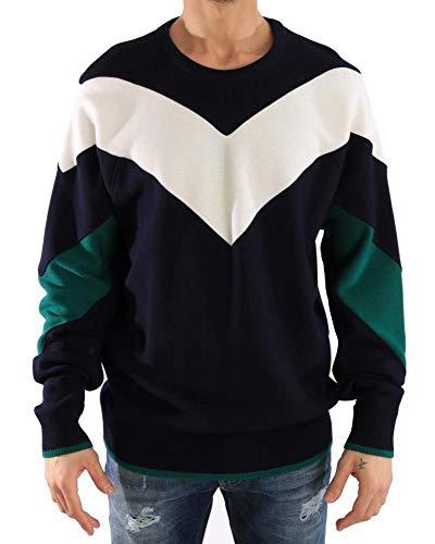 Dolce & Gabbana - Herren Pullover -Wolle - Men Sweater Blue Wool Crewneck Pullover Sweater- Size: 54 (Pullover Wool Crewneck Green)