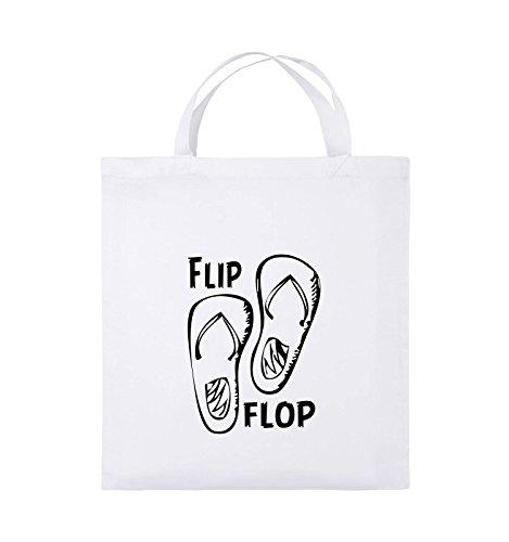 Comedy Bags - FLIP FLOP - SCHUHE - Jutebeutel - kurze Henkel - 38x42cm - Farbe: Weiss / Schwarz