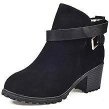 Culater Low Heel Tobillo Hebilla De Cinturón Botas Zapatos