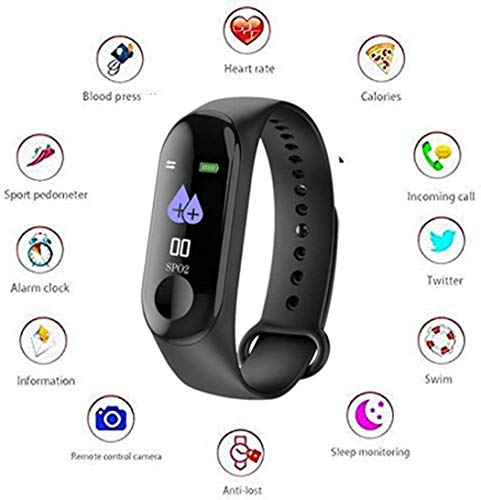 GENERIC INDIA M3 Intelligence Bluetooth Health Wrist Smart Band Watch Monitor/Smart Bracelet/Health Bracelet/Activity Tracker/Smart Fitness Band Compatible for All Androids and iOS Phone