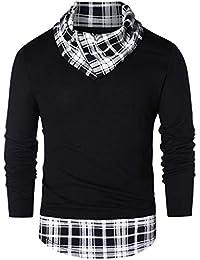 51f1b4e0ba7a6a B-commerce Casual Bluse - Männer Plaid Patchwork Langarm Haufen Haufen  Kragen Panel Shirt 2019 Splice Schwarz und Weiß Farbe…