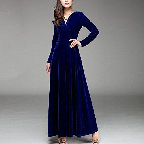 YYF Femme Robe Longue avec Manche Longue en coton Cadeau pour votre femme saphir bleu