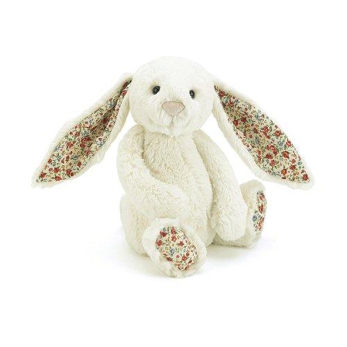 Jellycat Blossom Hase Kuscheltier Stofftier Plüsch - weiß - mittelgross - 31cm - Kaninchen Rabbit Bunny mit Blumenmuster