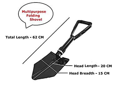 Camping Metal Foldable Spade | Camping Shovel | Multi-function Camping Tool | Multipurpose Shovel | Metal Folding Spade - Black / Military Green Color