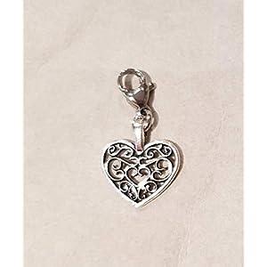 filigranes Herz ☘ Tracht ☘ Charivari☘ Anhänger ☘ Karabiner ☘ Bettelarmband ☘ Schlüsselanhänger ☘Kette ☘ Farbe: silber
