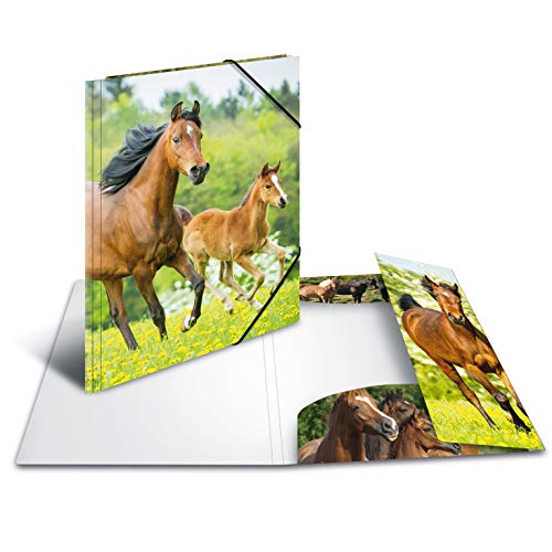 HERMA 7140 Sammelmappe DIN A4 Tiere Pferde aus stabilem Kunststoff mit bedruckten Innenklappen, Gummizugmappe, Eckspanner-Mappe, 1 Zeichenmappe für Kinder (Sammelmappe Für A4)
