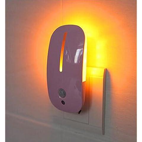 JJQControllo della luce notte sensoriale umano luce semplice plug-in risparmio energetico LED del mouse con scale parete lampada salotto camera da letto , pink (mouse) - Mouse Pranzo