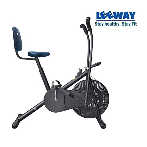 Leeway Air Bike| Exercise Cycle| Moving Handle Gym Bike| Cardio Fitness Work Out| Cross fit Equipment| Dual Action Airbike for Home - Black
