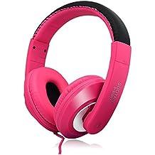 Rcool Audífono Estéreo para Auriculares PC para Portátil Juego para Auriculares Micrófono (Rosa)