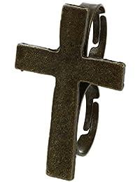 TOOGOO(R) Cruz de metal ajustable anillo de dedo doble de laton