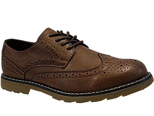 Foster Footwear Mens groundwork Faux Leather Suede Lace Up Oxford Brogue Chunky Sole Smart Shoes Size 7-11 (UK 8, Brown)