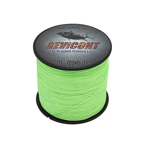 GEVICONT Angelschnur aus Polyethylen, geflochten, 4 Stränge, 4,5 kg - 45,5 kg, Multifilament-Angelschnur für Karpfenangeln, für alle Angeln, Leuchtend grün, 109Yds(100m)-20lb(9.1kg)-0.20mm -