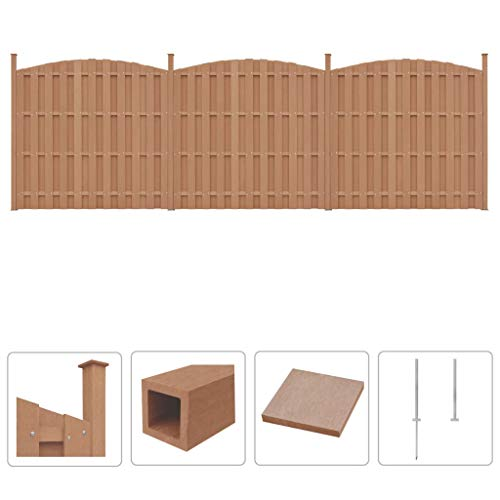 Festnight- WPC Sichtschutzzaun 562 x (165-185) cm Braun | Gartenzaun Windschutz Zaunpaneel Zaun Set mit 3 Geschwungen