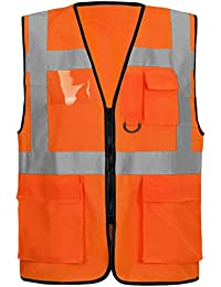 Unbranded High VIS Viz Visibility Vest Work Front Zip UP Fastening  Waistcoat Reflective Safety Security Tops 69dfe9e170ff