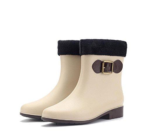 Inverno Tenere in caldo Stivali da pioggia Antiscivolo Stivali da pioggia meters white