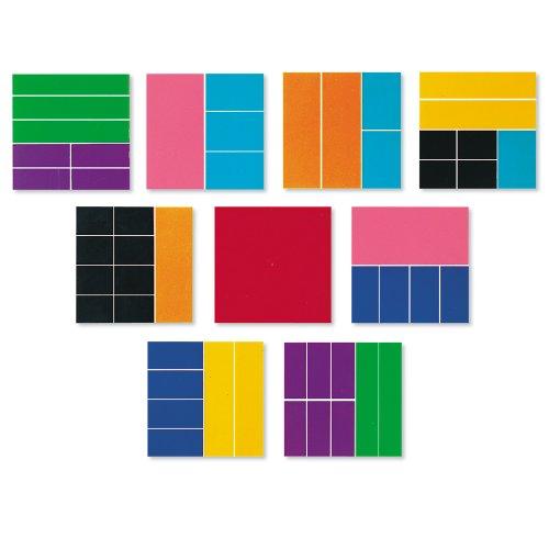 Learning Resources LER0619 Deluxe-Bruchrechenquadrate in Regenbogenfarben - Ganzen Addieren Subtrahieren Zahlen Von Und