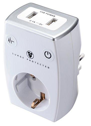 Masterplug SRGAUSBPW/G-MP Ladegerät, max. 2.1A, 2X USB Port + SCHUKO Steckdose mit Überspannungsschutz und Kindersicherung, 3680 W, 250 V, weiß, 2-Fach - Steckdose Wand-adapter Mit Überspannungsschutz
