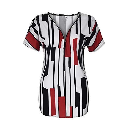 Andouy Damen Tunika-Oberteil Gestreiftes T-Shirt mit Farbblock Kurzarm Plus Size Gr.38-50 Half-Zip Tee Oversize(3XL(46),rot) (Pique Half Zip)