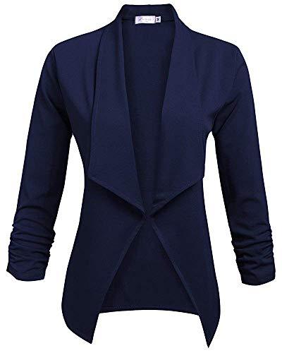 Damen Blazer Elegante Langarm Business Büro Jäckchen Anzug Casual Kurzblazer Mantel Jacke Oberteil 2-Navyblau M -