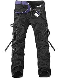Feoya Herren Freizeithose Wasserwäsche Cargohose Mehrere Tasche Ranger Hosen aus Baumwolle Loose-Fit Outdoor Arbeitshosen