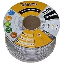 Televes - Cable coaxial t100 cu/cu pvc clase a 100m blanco