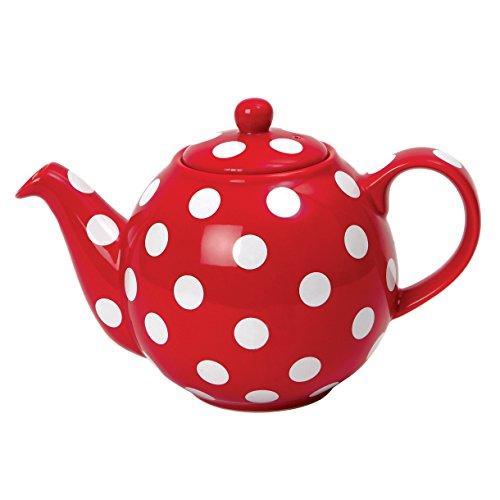 London Pottery Théière 4 tasses Globe, Rouge avec pois blancs