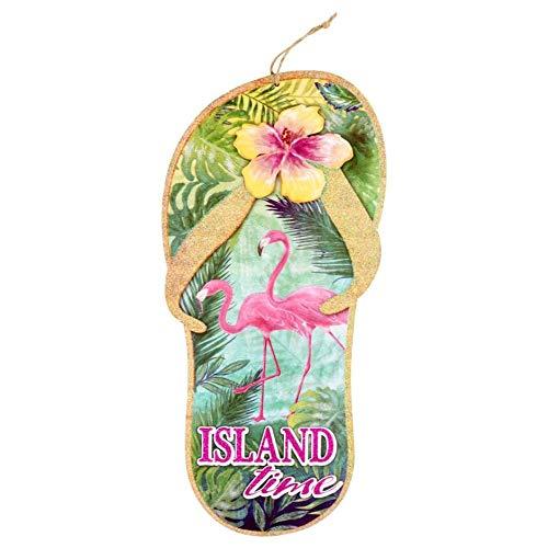 Scout & Company Island Time Flip-Flops Schild für Tropische Hawaii-Partyzubehör - Florida Tiki Bar Dekorationen mit rosa Flamingos und Hibiskus, Goldfarbene Glitzerplakette für Küche oder Terrasse -