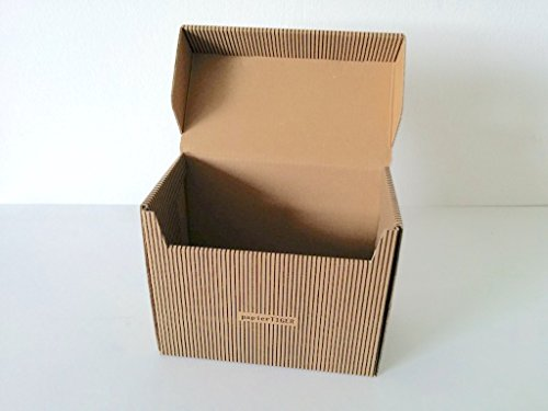 7 Papiertiger Karteikästen A7 Karton Streifendesign schwarzbraun faltbar für bis zu 300 Karteikarten