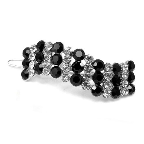 Glamorousky Elegant Barrette with Black and Silver Austrian Element Crystal (306)