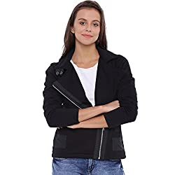 Campus Sutra Women Black Jacket(AW16L_JKHNKSZIP_W_PLN_BL_XL)