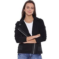 Campus Sutra Women Black Jacket(AW16L_JKHNKSZIP_W_PLN_BL_L)