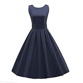 LUOUSE Sommer Damen Ohne Arm Kleid Dress Vintage kleid Junger abendkleid,NavyBlue,S
