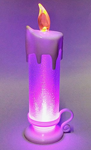 (Set of 2 ) 20 cm Swirling Colour Changing battery operated LED Light Glitter Prayer Candle for Christmas
