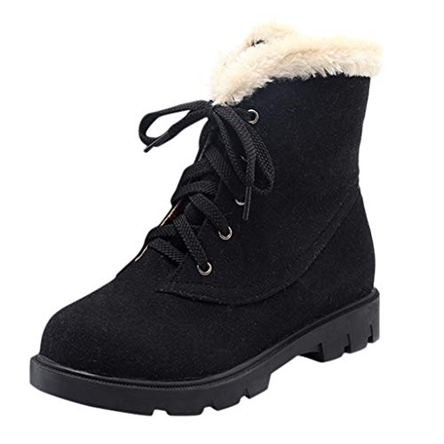 feiXIANG Damen Stiefeletten Round Toe Boots Flach Lace-Up Schneeschuhe Casual warme Verdicken Booties (Schwarz,36)