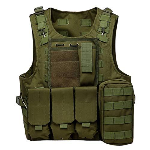 Gilet de Chasse Tactique, équipement de Plein air armée Green Jungle Game Gilet de Protection avec Pochette détachable en Dehors du Camping Chasse Pêche Randonnée Airsoft Jeu de Guerre