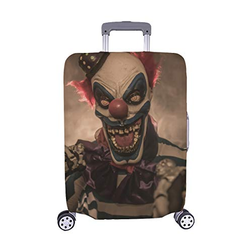 (Nur abdecken) Böser unheimlicher Clown Monster Pattern Spandex-Staubschutz Trolley Protector case-Koffer Reisegepäck-Schutzkoffer-Abdeckung 28,5 X 20,5 Zoll