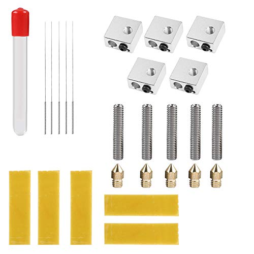 Zerone - Piezas extrusoras de Impresora 3D, 5 Piezas, Boquilla de 0,4 mm, Tubo extrudor/Tubo de Aluminio, Bloque de calefacción de Aluminio, Boquilla de Limpieza para Impresora 3D MK8 Makerbot