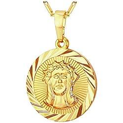 BOBIJOO Jewelry - Pendentif Médaille Tête Jésus Christ Acier Plaqué Or Communion Baptême + Chaîne