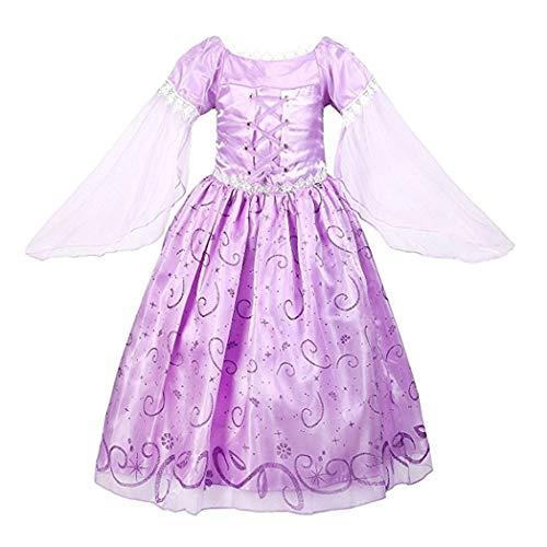 (CMFashion Rapunzel Kinder Kostüm Prinzessin Kleid Lila Pink Größe 2-9 Jahre)