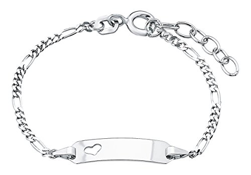 Amor Kinder-Armband ID Identarmband längenverstellbar gravierbar Mädchen Herz 925 Sterling Silber 12 + 2 cm