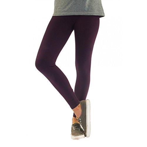 Blickdichte Damen Leggings aus Baumwolle Leggins Knöchellang in schwarz weiß grün grau rot gelb, Farbe: Violett, Größe: 44-46