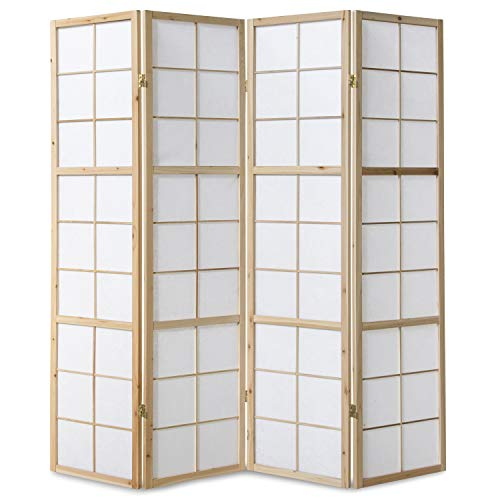 Homestyle4u 167, Paravent Raumteiler 4 teilig, Holz Natur, Reispapier Weiß, Höhe 175 cm