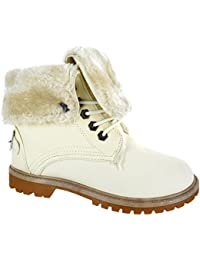 c0991923 Other Womens Ladies Flat Fur Lined Grip Sole Winter Army Combat Ankle Boots  Shoes Size